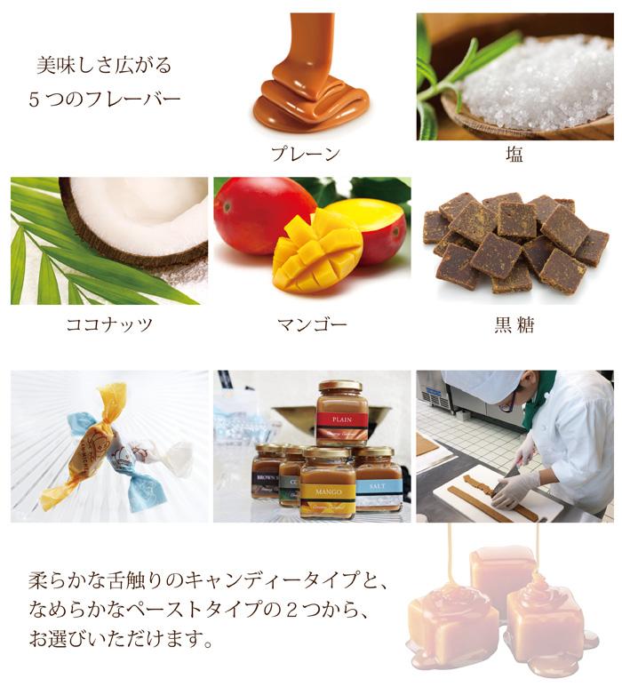 手作り生キャラメル美味しさ広がる5つのフレーバー プレーン 塩 ココナッツ マンゴー 黒糖 キャンディータイプ ペーストタイプ